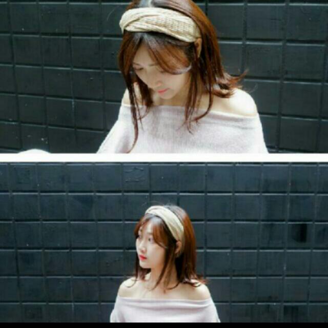 韓系寬版交叉針織髮帶