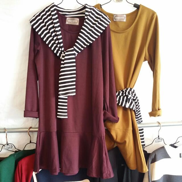 假領可拆素色簡單長版洋裝