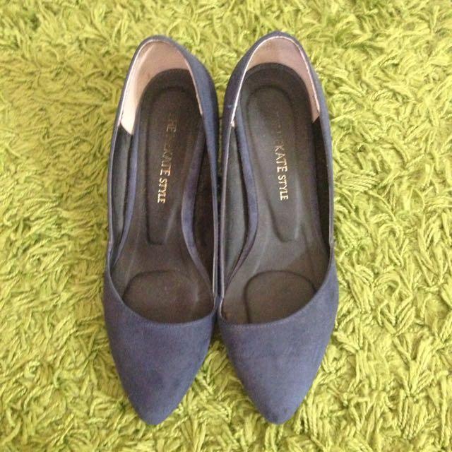 韓製寶藍斜口尖頭鞋23.5