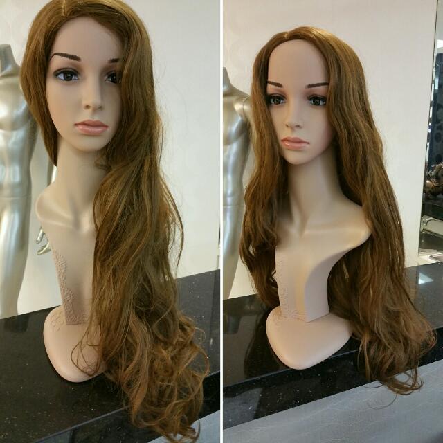 亞麻棕浪漫大捲長假髮