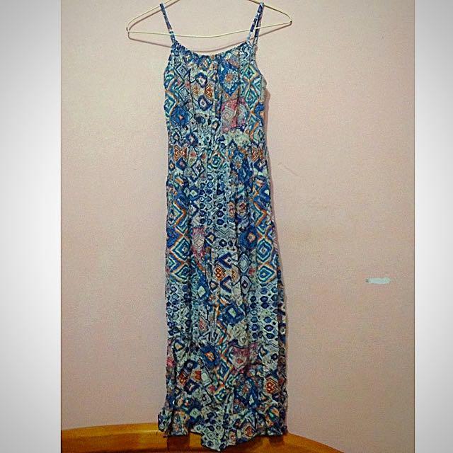 波西米亞滿版印花連身洋裝