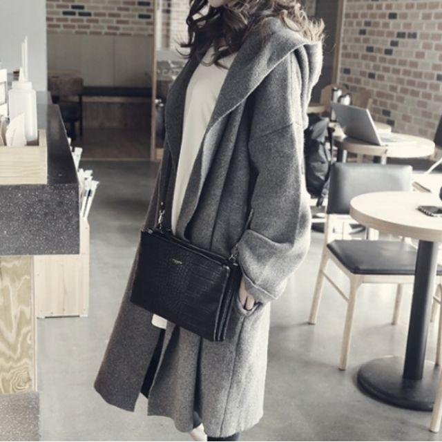 ★韓國代購★中長款休閒連帽寬鬆毛衣開衫外套 (175)