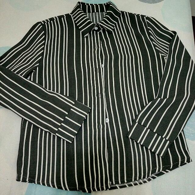 🔅全新 條紋灰底白條襯衫🔅