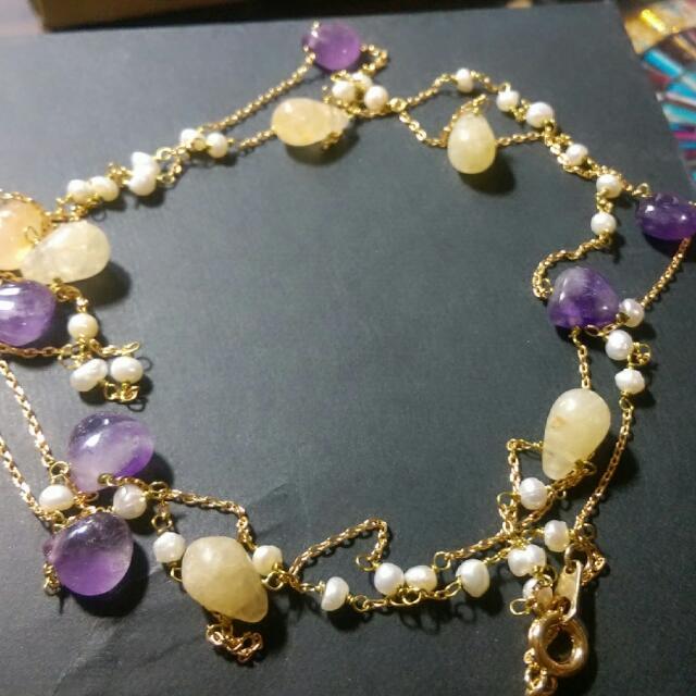 韓店購入 珍珠白 紫色 跟結晶石 長鍊