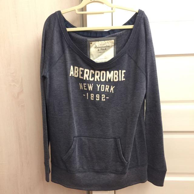 #一百元上衣 Abercrombie and Fitch 美式休閒風 平口斜肩女上衣