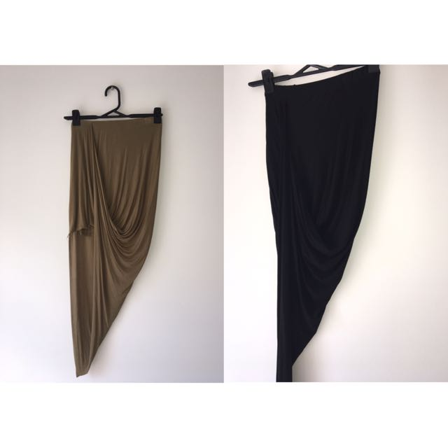 Asymmetrical Skirts Khaki & Black
