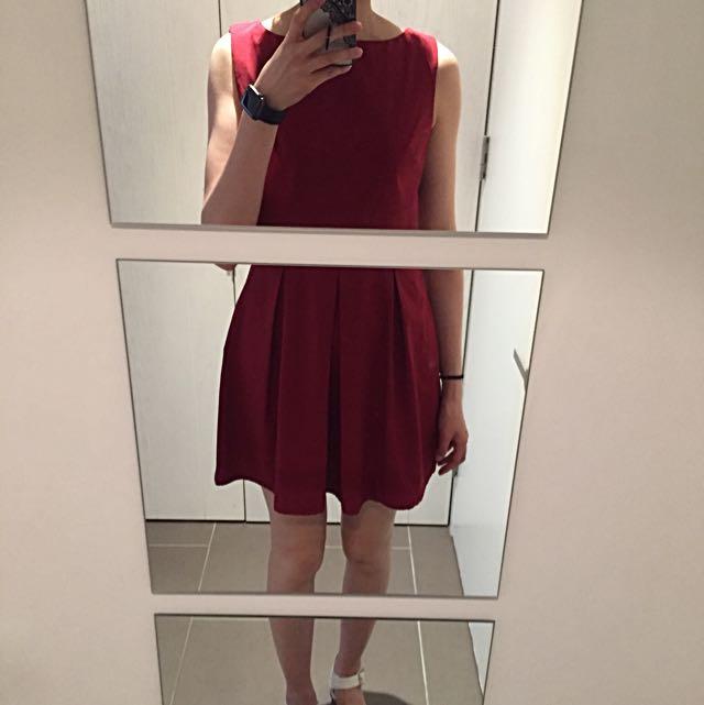 AX Paris Dress In Ox Blood Colour