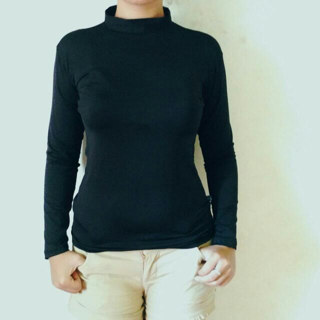 Black Stretch Turtle Neck Shirt