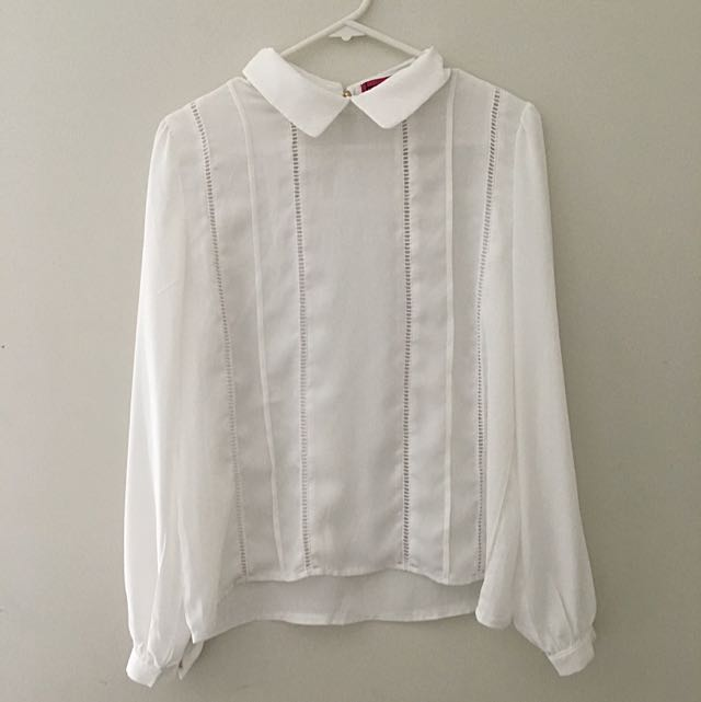 BOOHOO White Collared Shirt