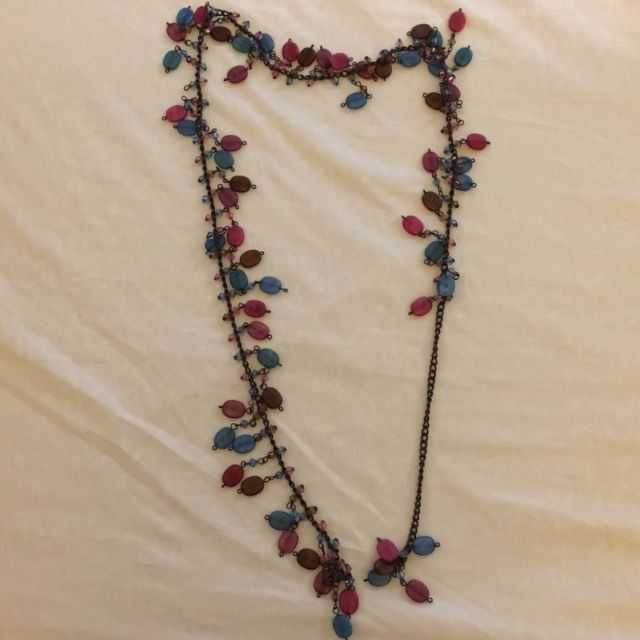 Chain Belt with Blue and Pink Beads