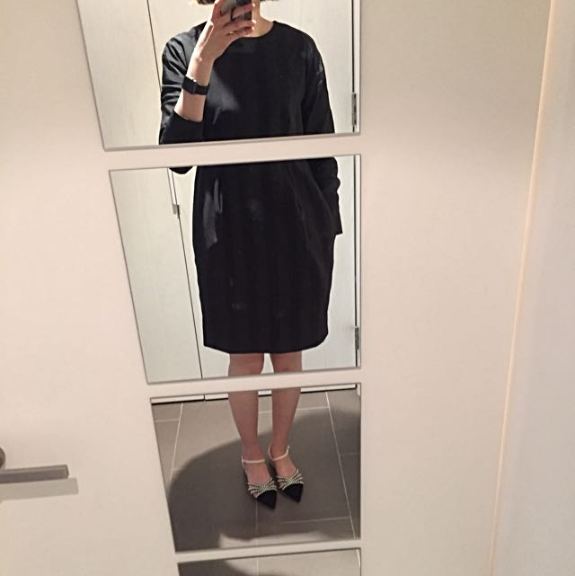 COS Black Strap Details Long Sleeves Dress
