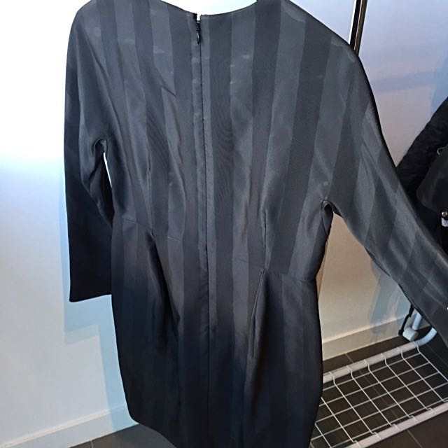 COS Black Strap Details Long Sleeves Dress