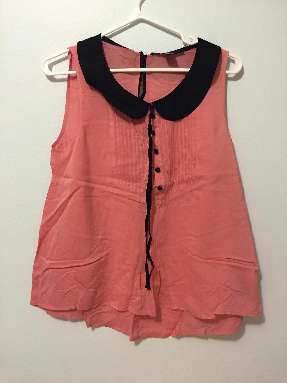 Forever21 coral peter pan collar blouse