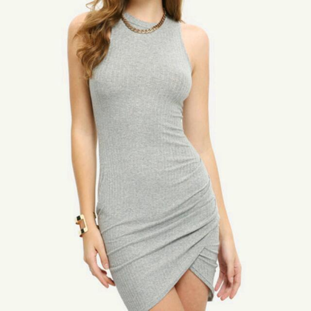 SOLD Pending Pick Up.  Grey Stretch Crossover Dress. Brandnew Without Tags. Is A Small Size Medium( Stretch and Would Fit 8-10 Nicely 12 Firmly ) $19 Advertised Elsewhere
