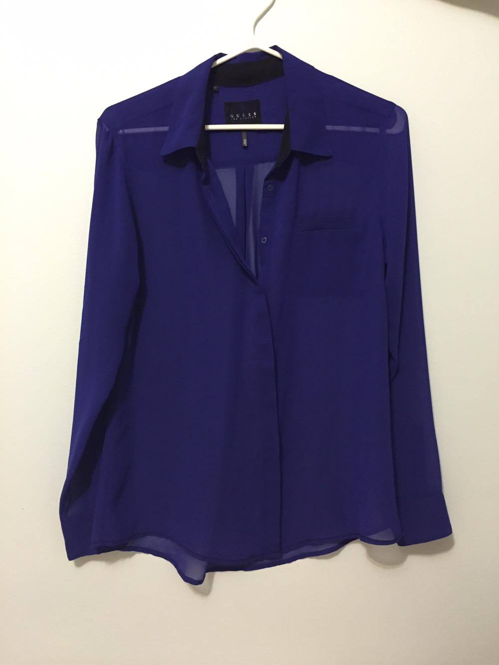 GUESS indigo/purple chiffon blouse