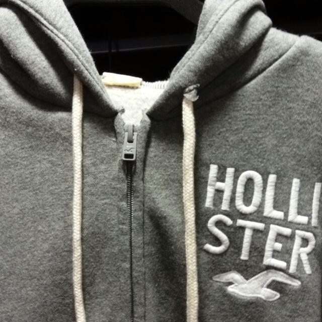 Hollister灰色刷毛連帽外套(含運)
