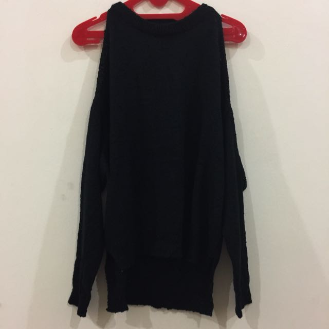 Korean Black Off Shoulder Long Shirt