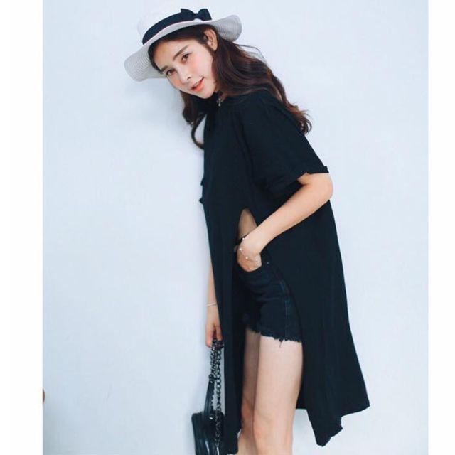 Korean Side Slit Cotton Dress Blouse