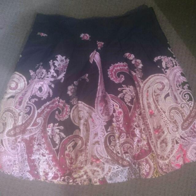 Ladies PORTMANS Paisley Print Aline Skirt, Tuel Lined. $18