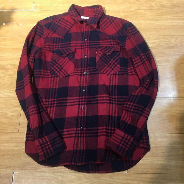 Levi's 紅色格紋襯衫 M號