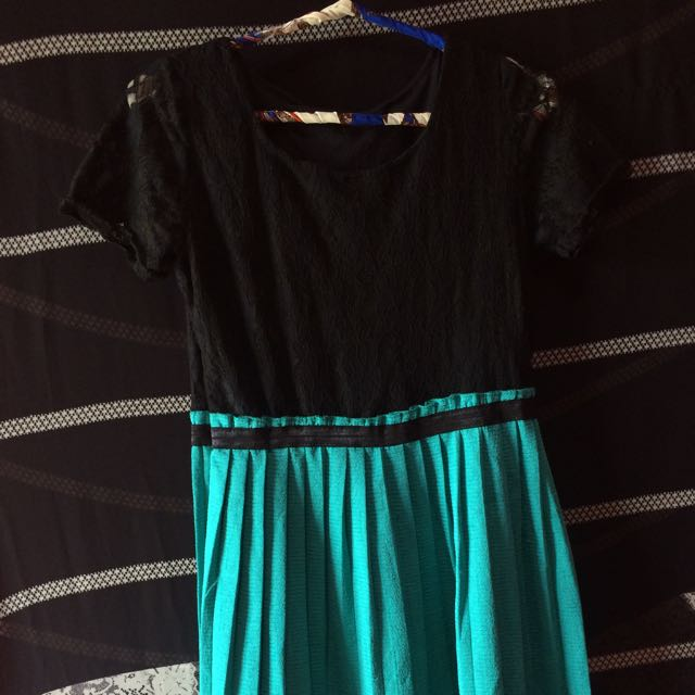 Mini Dress Black+tosca