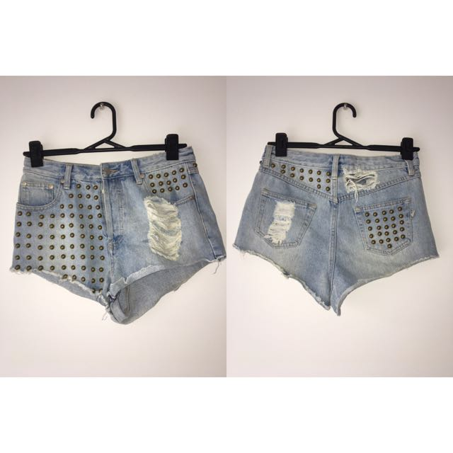 Mink Pink Denim Studded Shorts Size 10