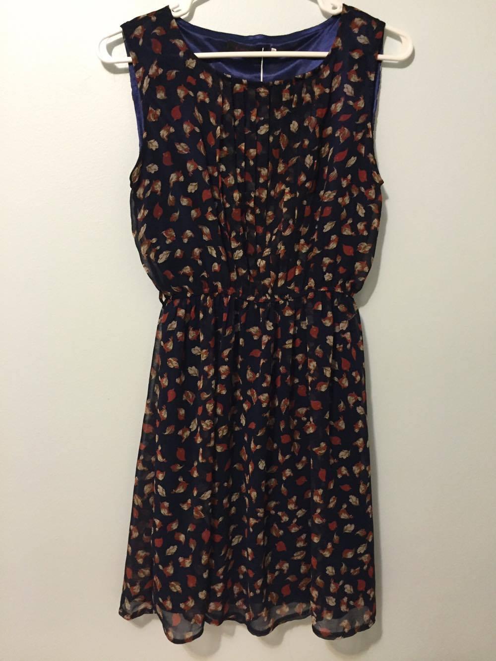 Navy blue patterned chiffon dress
