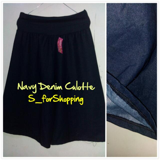 Navy Denim Culotte (7/8)