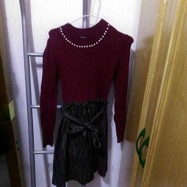 One way 假兩件式酒紅珍珠點綴洋裝