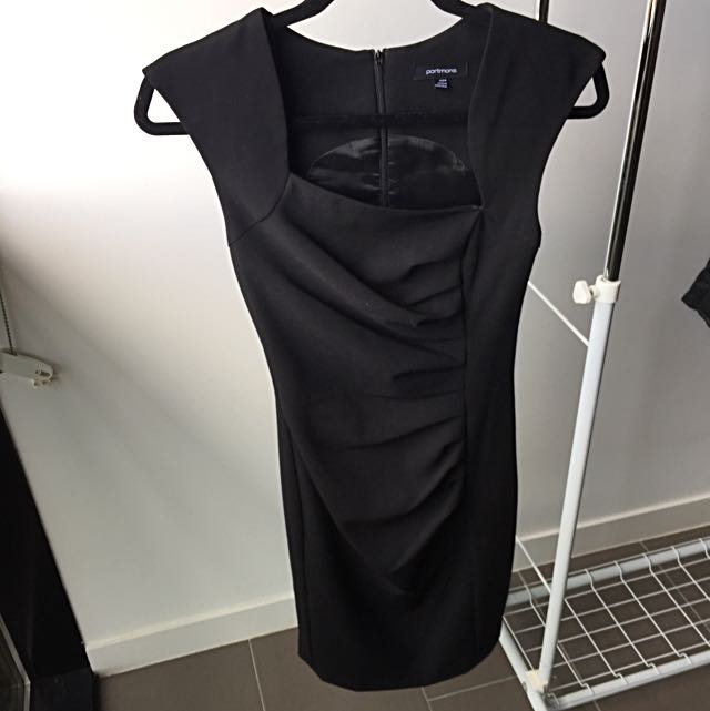 Portmans Black Dress With Uneven Neckline And Crease Details