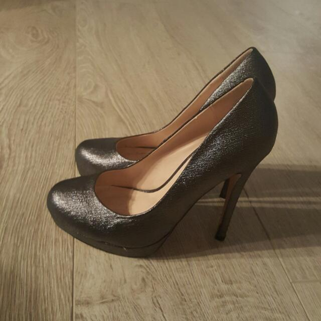 Silver Glitter Heels by De Blossom Collection, size 6