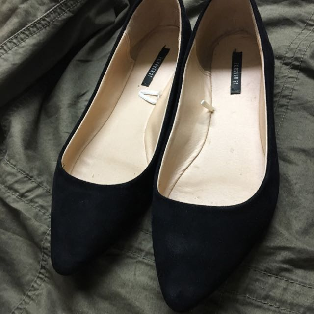 Suede Pointed Flats From Forever 21