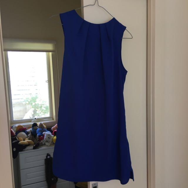 Topshop Electric Blue High Neck A- Line Dress