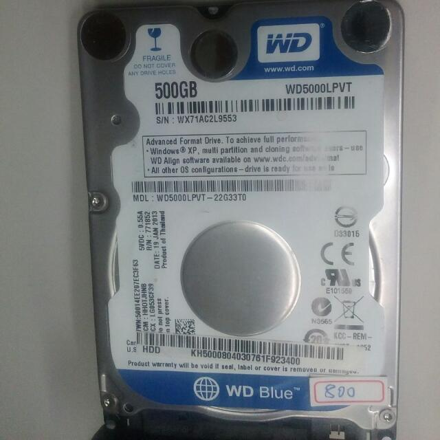 "WD 2.5"" 500GB SATA HDD,已格式化,無壞軌"