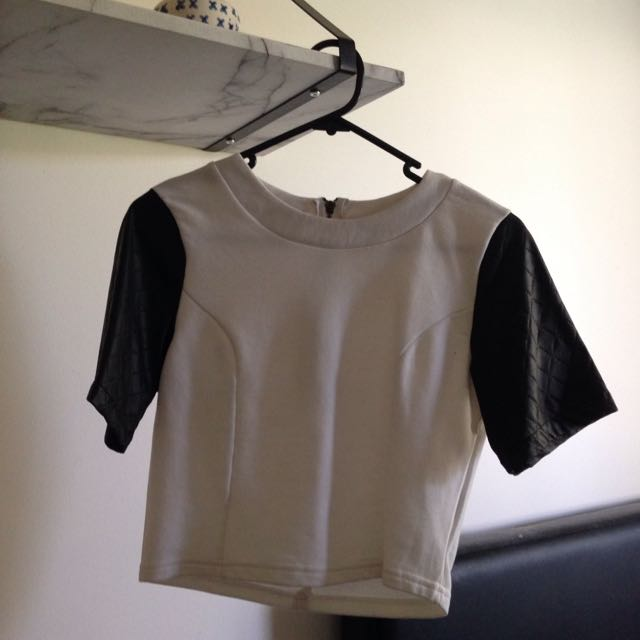 White Top With Leather Look Sleeves