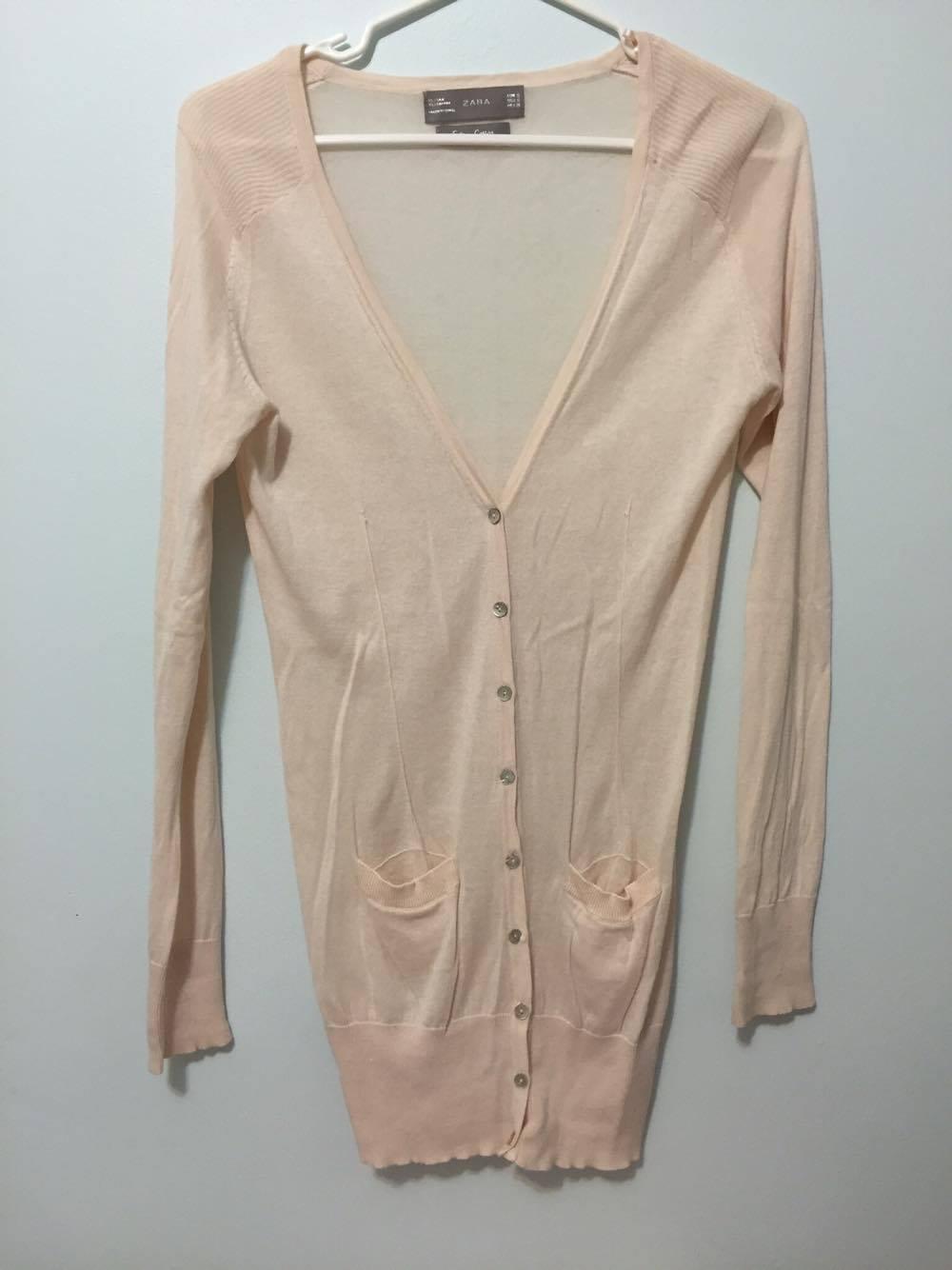 Zara long pale pink cardigan