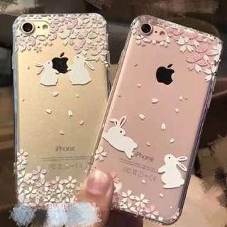i7/ 7 plus 可愛櫻花🌸小兔子  透明軟殼 手機殼/保護套