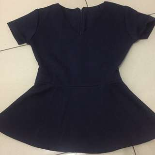 Navy Blue Peplum
