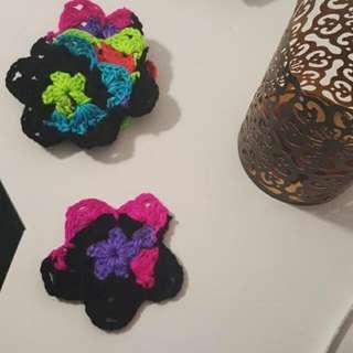 Multicoloured Flowery Coasters (5)