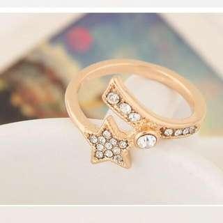 韓版時尚 甜美星星閃鑽個性戒指