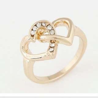 韓版時尚 甜美閃鑽心連心個性戒指
