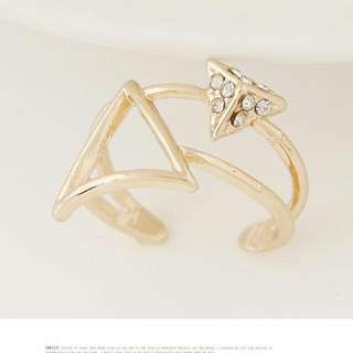 韓版 時尚甜美OL幾何三角形個性開口戒指