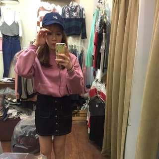 韓國前口袋內刷毛大學T