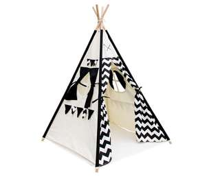 4 Poles Teepee Tent w/ Storage Bag Black
