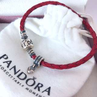 Pandora Red Braided Leather Charm Bracelet