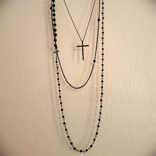 Black Necklace With Crosses