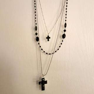 Black Necklace With Black Crosses