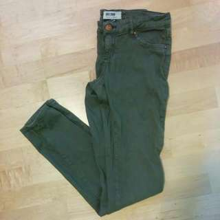 Dark Green/Tan Garage Skinny Jeans