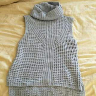 Grey knit roll neck top
