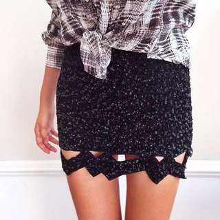NEW Aje Replica Skirt Sequin Black Cut Out Summer Clubbing Night